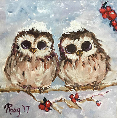 Artwork Painting - Snowy Owl Chicks In A Holly Tree by Roxy Rich
