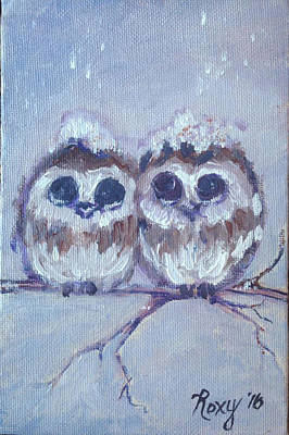 Animals Painting - Snowy Owl Chicks by Roxy Rich