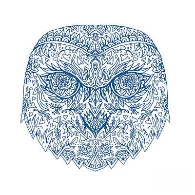 Snowy Digital Art - Snowy Owl Head Mandala by Aloysius Patrimonio