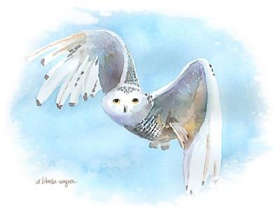 Watercolor Painting - Snowy Owl In Flight by Arline Wagner