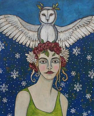 Gritty Painting - Snowy Owl by Jane Spakowsky