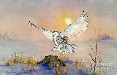 Snowy Night Painting - Snowy Owl by Melly Terpening