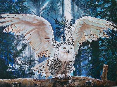 Painting - Snowy Owl On Takeoff  by Sharon Duguay