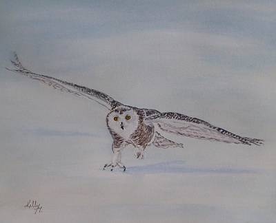 Painting - Snowy Owl's Perfect Landing by Kelly Mills
