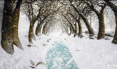 Pathway Digital Art - Snowy Path by Alina Davis