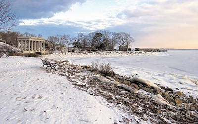 Photograph - Snowy Path Along Harbor by Janice Drew