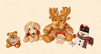 Teddy Bear Watercolor Painting - Snowy Patrol by Angeles M Pomata