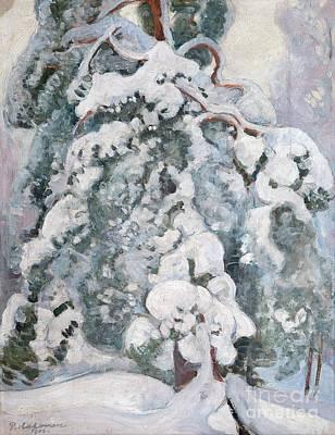 Pekka Wall Art - Painting - Snowy Pine-tree by Celestial Images