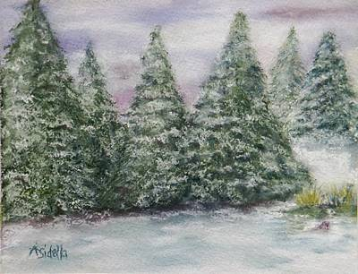 Painting - Snowy Pines by Annamarie Sidella-Felts