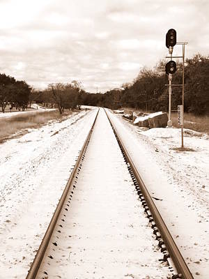 Photograph - Snowy Railroad In Sepia by James Granberry