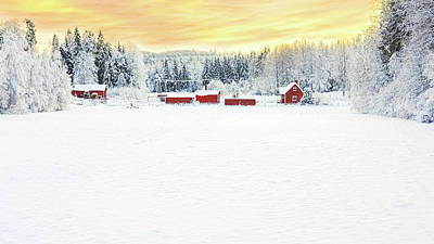 Snowy Ranch At Sunset Art Print