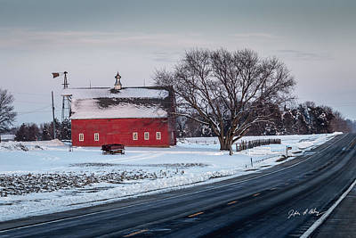 Old Windmill Wall Art Photograph - Snowy Red Barn And Sunset Along Highway by Jeffrey Henry