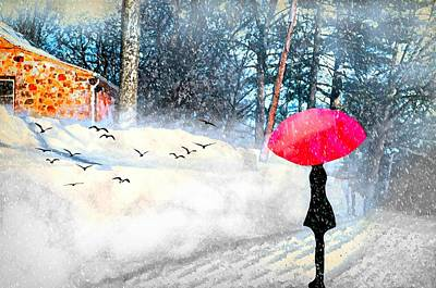 Photograph - Snowy Red Umbrella by Diana Angstadt