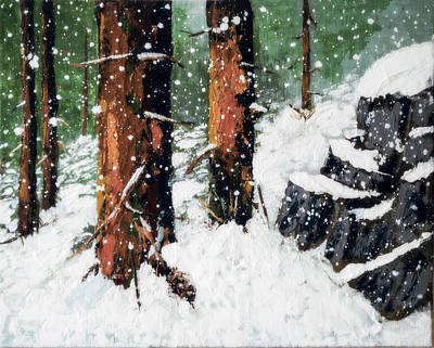 Painting - Snowy Redwood Dream by L J Oakes
