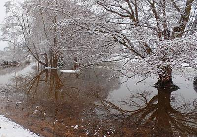 Photograph - Snowy Reflection In Bow by Karen Molenaar Terrell