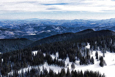 Digital Art - Snowy Ridges - Impressions Of Mountains by Georgia Mizuleva