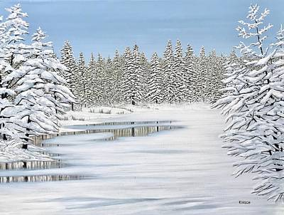 Painting - Snowy River by Kenneth Kirsch