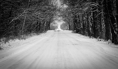 Snowy Road In Oklahoma Art Print by Nathan Hillis