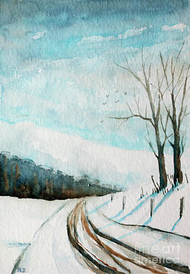 Painting - Snowy Road by Rebecca Davis