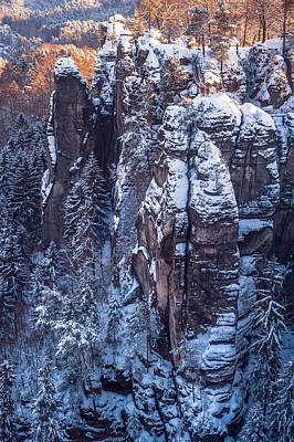 Photograph - Snowy Rocks. Saxon Switzerland by Jenny Rainbow