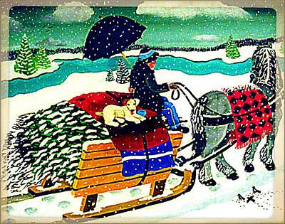 Snowy Sled Ride With Dog Original by Branko Paradis