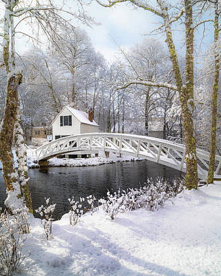 Photograph - Snowy Somesville Bridge by Benjamin Williamson