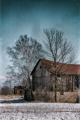 Photograph - Snowy Spring Barn At Lost Lake by Mark David Zahn Photography