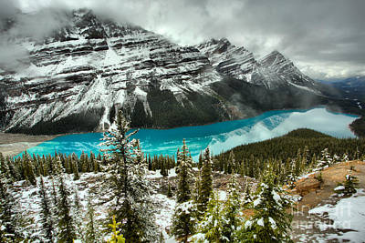 Photograph - Snowy Spring Reflections At Peyto Lake by Adam Jewell