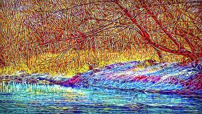 Digital Art - Snowy Stream Dreams by Joel Bruce Wallach