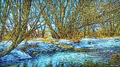Digital Art - Snowy Stream Journey by Joel Bruce Wallach