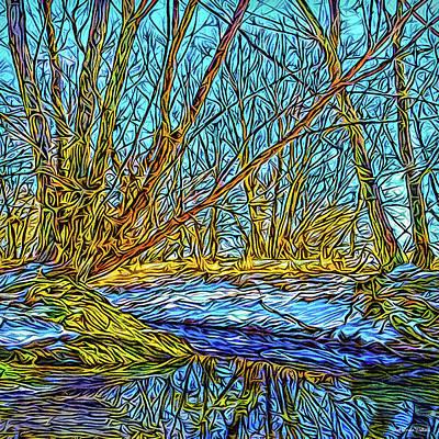 Digital Art - Snowy Stream Reflections by Joel Bruce Wallach
