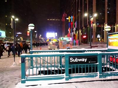 Digital Art - Snowy Subway Stop by Ed Weidman