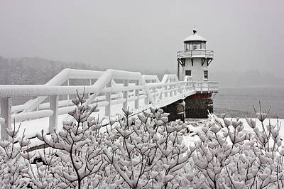 Snowy Sunday At Doubling Point Lighthouse Art Print by Benjamin Williamson