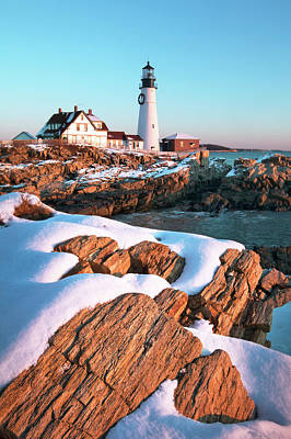 Photograph - Snowy Sunrise At Portland Head Lighthouse by Eric Gendron