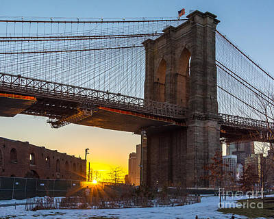 Photograph - Snowy Sunset Under The Brooklyn Bridge by Alissa Beth Photography