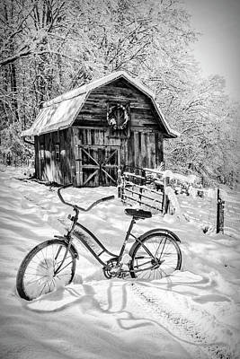 Abandoned Cabins Smoky Mountains Wall Art - Photograph - Snowy Surprise Black And White by Debra and Dave Vanderlaan