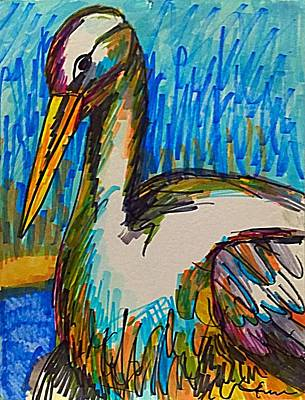 Drawing - Cody's Critters - Snowy The Egret  by George Frayne