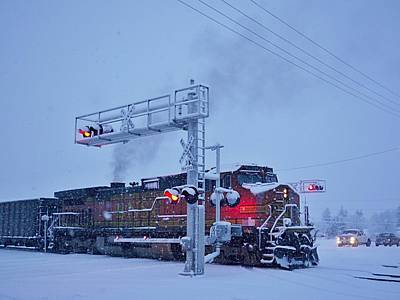 Photograph - Snowy Train Crossing  by Dutch Bieber
