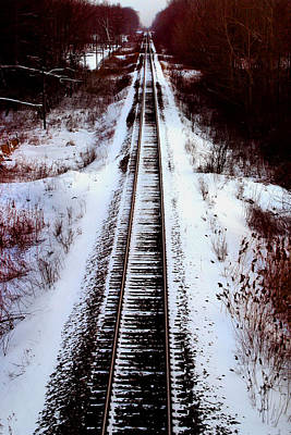 Photograph - Snowy Train Tracks by Anthony Jones