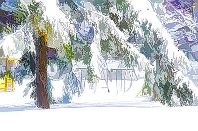 Frosty Weather Painting - Snowy Trees In Winter Landscape  by Lanjee Chee