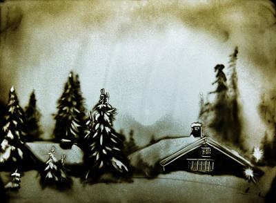 Drawing - Snowy Village by Elena Vedernikova