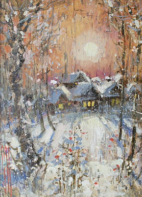 Painting - Snowy Village by Ilya Kondrashov