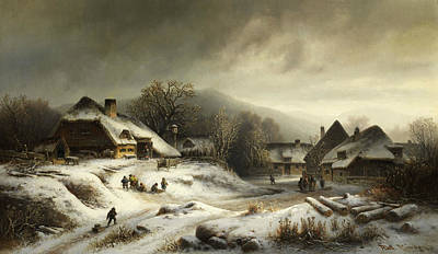Painting - Snowy Village Landscape In The Evening Light by Anton Doll