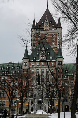 Photograph - snowy walk to Chateau Frontenac by Perggals - Stacey Turner