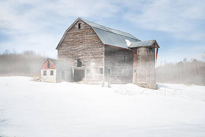 Print featuring the photograph Snowy Winter Barn by Gary Heller