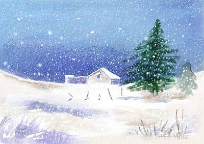 Snow Scene Digital Art - Snowy Winter Scene by Arline Wagner