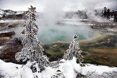 Tranquil Pond Photograph - Snowy Yellowstone by Jason Maehl
