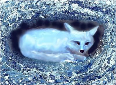 Snow Puppy Mixed Media - Snug by Hank Roll