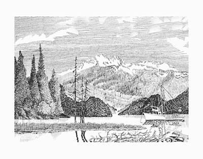 Nautical Harbor Bay Boats Drawing - Snug Harbor Alaska Anchorage by Jack Pumphrey