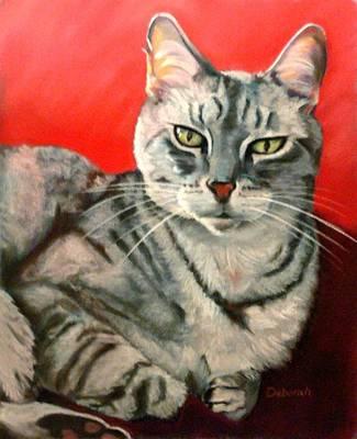 Gray Tabby Pastel - Snuggles by Deborah Carroll